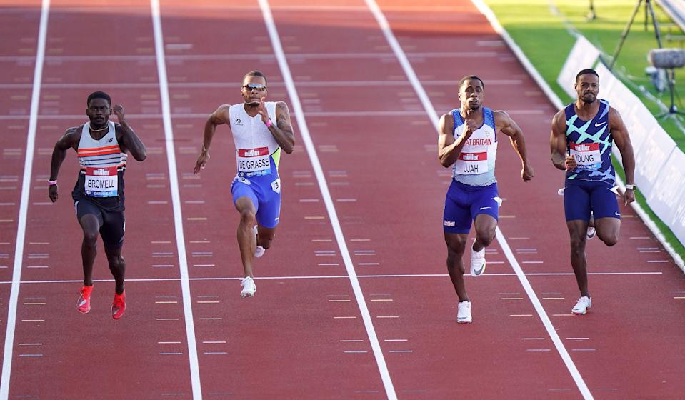 Ujah finishes second to Bromell in the Diamond League at Gateshead earlier this month (PA)