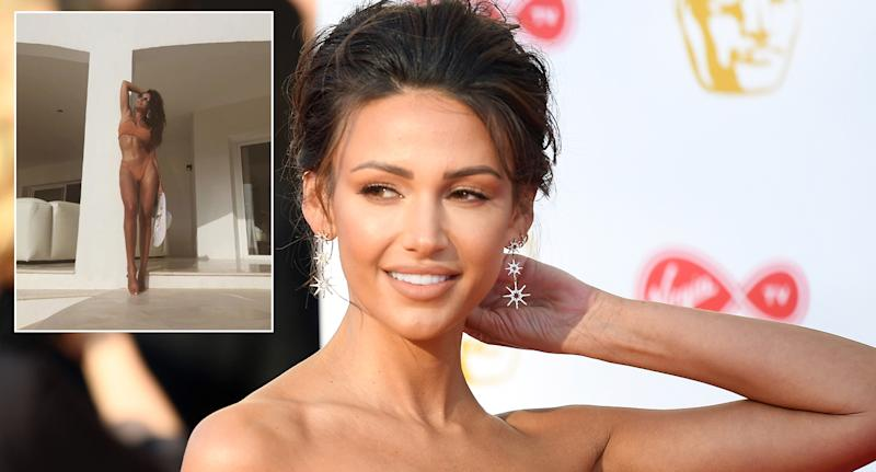 Michelle Keegan has worn a Hunza G bikini while on holiday in Ibiza [Photos: Getty/Instagram]