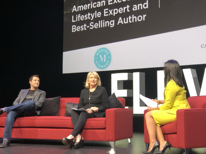 Martha Stewart and Canopy Growth CEO Mark Zekulin speak at the Elevate technology conference in Toronto on Tuesday, Sept. 24, 2019.