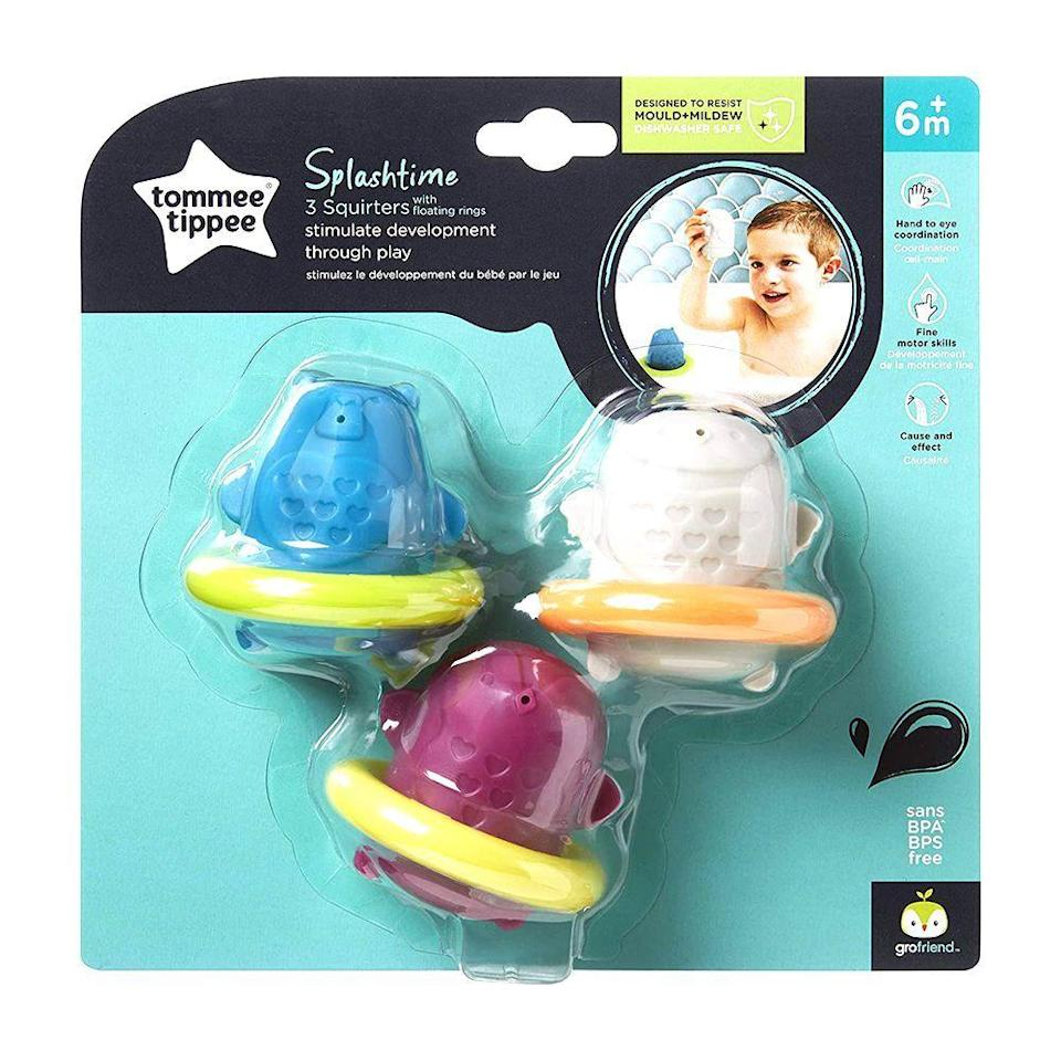 """<p><strong>Tommee Tippee</strong></p><p>amazon.com</p><p><strong>$4.59</strong></p><p><a href=""""https://www.amazon.com/dp/B0817G3GDY?tag=syn-yahoo-20&ascsubtag=%5Bartid%7C2089.g.268%5Bsrc%7Cyahoo-us"""" rel=""""nofollow noopener"""" target=""""_blank"""" data-ylk=""""slk:Shop Now"""" class=""""link rapid-noclick-resp"""">Shop Now</a></p><p>Make bath time a time to play in 2021! These Stack 'N' Pour toys have different hole configurations at the bottom of each cup — which makes sticking them to the side of the tub and watching the water flow a fun and educational experience.</p>"""