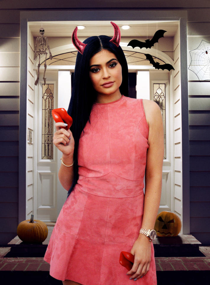 <p>Although the <i>Keeping Up With the Kardashians</i> star owns four homes, we think her assistant should keep things simple this Halloween and just buy one treat to hand out to all the little goblins: wax lips. After all, thanks to her many pouting selfies and her mega-successful Kylie Lip Kits, Jenner is best known for her smackers. Not to mention, this provides her with the perfect opportunity for more self-promotion! (Photo: Getty Images/Illustration by Daniel Miller) </p>
