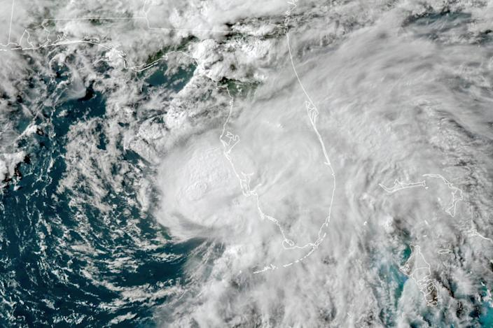 This GOES-16 GeoColor satellite image taken Tuesday at 5:50 p.m. EDT, and provided by NOAA, shows Hurricane Elsa in the Gulf of Mexico off the coast of Florida.
