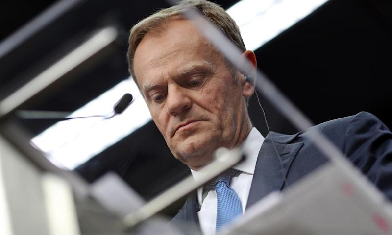 Donald Tusk speaks during a press conference after an EU Council meeting on 29 April about Brexit.