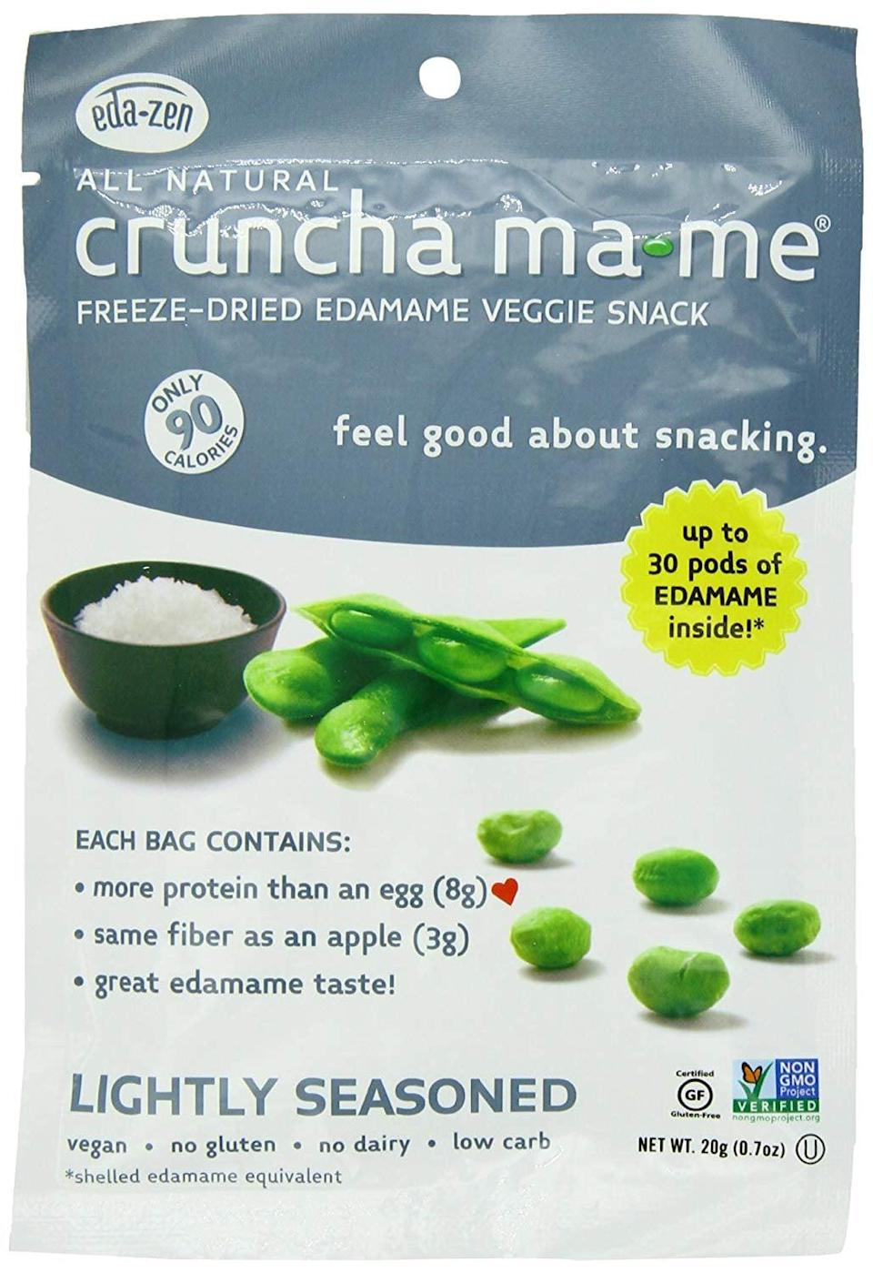 """<p>We could munch on these salty <a href=""""https://www.popsugar.com/buy/Eda-Zen-Cruncha-Ma-Me-Edamame-Veggie-Snacks-410815?p_name=Eda-Zen%20Cruncha%20Ma-Me%20Edamame%20Veggie%20Snacks&retailer=amazon.com&pid=410815&price=13&evar1=fit%3Aus&evar9=45900554&evar98=https%3A%2F%2Fwww.popsugar.com%2Ffitness%2Fphoto-gallery%2F45900554%2Fimage%2F45900691%2FEda-Zen-Cruncha-Ma-Me-Edamame-Veggie-Snack&list1=shopping%2Camazon%2Chealthy%20snacks%2Csnacks%2Clow%20calorie%2Clow-carb&prop13=mobile&pdata=1"""" class=""""link rapid-noclick-resp"""" rel=""""nofollow noopener"""" target=""""_blank"""" data-ylk=""""slk:Eda-Zen Cruncha Ma-Me Edamame Veggie Snacks"""">Eda-Zen Cruncha Ma-Me Edamame Veggie Snacks</a> ($13 for eight) all day long.</p>"""