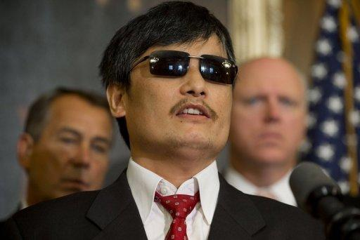 Chinese human rights activist Chen Guangcheng speaks during a press conference at the US Capitol in August 2012