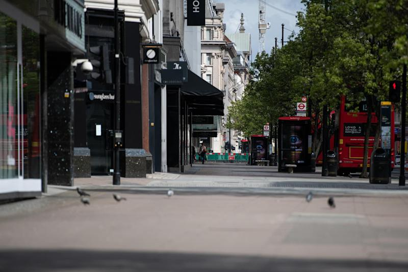 A deserted Oxford Street in London during the lockdown: Getty Images