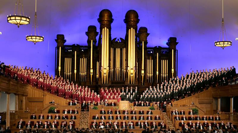 SALT LAKE CITY, UT - MARCH 31: The Mormon Tabernacle Choir sings as Mormons gather in the Salt Lake Mormon Temple for the 177th Annual General Conference of the Church of Jesus Christ of Latter Day Saints March 31, 2007 in Salt Lake City, Utah. During the General Conference the historic restored Tabernacle on Temple Square will be rededicated. (Photo by George Frey/Getty Images)
