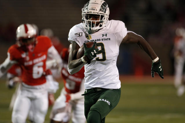 Colorado State wide receiver Warren Jackson (9) sprints to the end zone for a touchdown during the first half of the team's NCAA college football game against New Mexico on Friday, Oct. 11, 2019 in Albuquerque, N.M. (AP Photo/Andres Leighton)
