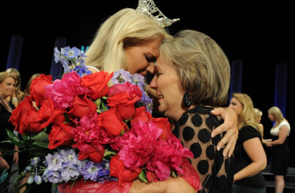 Diana Dreman Adkisson and her mom Rebecca King Dreman (Miss America 1974) after Diana was crowned Miss Colorado 2011. (Courtesy of Diana Dreman Adkisson)