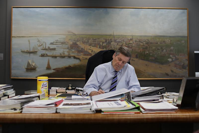 TORONTO, ON - MARCH 26: Mayor John Tory is out of isolation and back to work at City Hall. (Rene Johnston/Toronto Star via Getty Images)