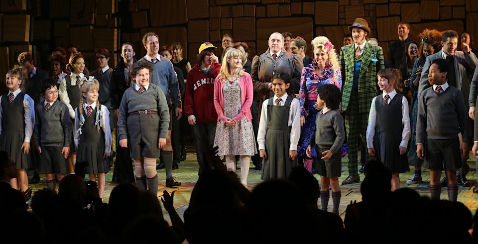 Lauren Ward, Bertie Carvel, Lesli Margherita & Gabriel Ebert with ensemble cast during the Broadway Opening Night Performance Curtain Call for 'Matilda The Musical' at the Shubert Theatre in New York City on 4/11/2013 (Photo by Walter McBride/Corbis via Getty Images)