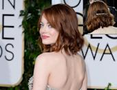 <p>It's safe to say that 2015 was the year of the metallic hair accessory and Emma Stone at the Golden Globes is one of the best examples of how to pull off the look. <i>(Photo: Getty Images)</i></p>