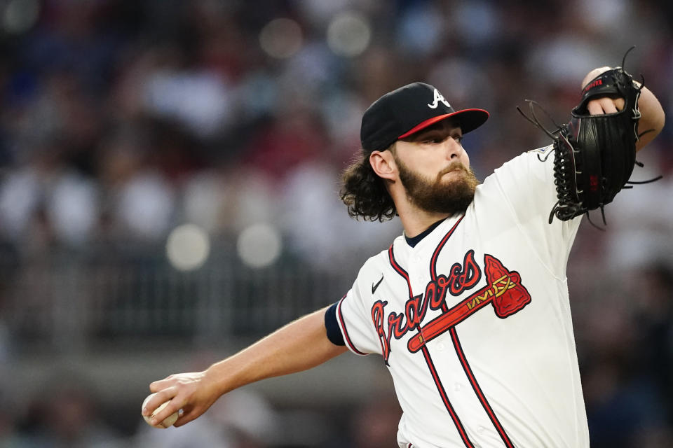 Atlanta Braves starting pitcher Ian Anderson (36) delivers in the first inning of a baseball game against the Philadelphia Phillies, Thursday, Sept. 30, 2021, in Atlanta. (AP Photo/John Bazemore)