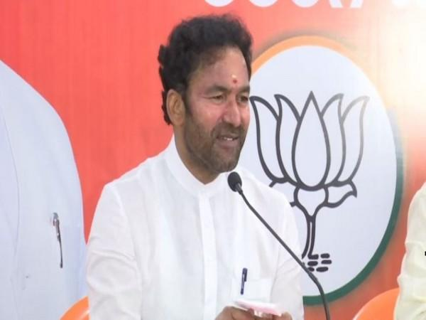 Union Minister of State for Home Affairs G Kishan Reddy speaking to reporters in Hyderabad on Tuesday. [Photo/ANI]
