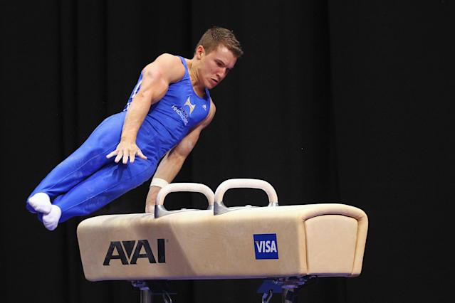 ST. LOUIS, MO - JUNE 9: Jonathan Horton competes on the pummel horse during the Senior Men's competition on Day Three of the Visa Championships at Chaifetz Arena on June 9, 2012 in St. Louis, Missouri. (Photo by Dilip Vishwanat/Getty Images)