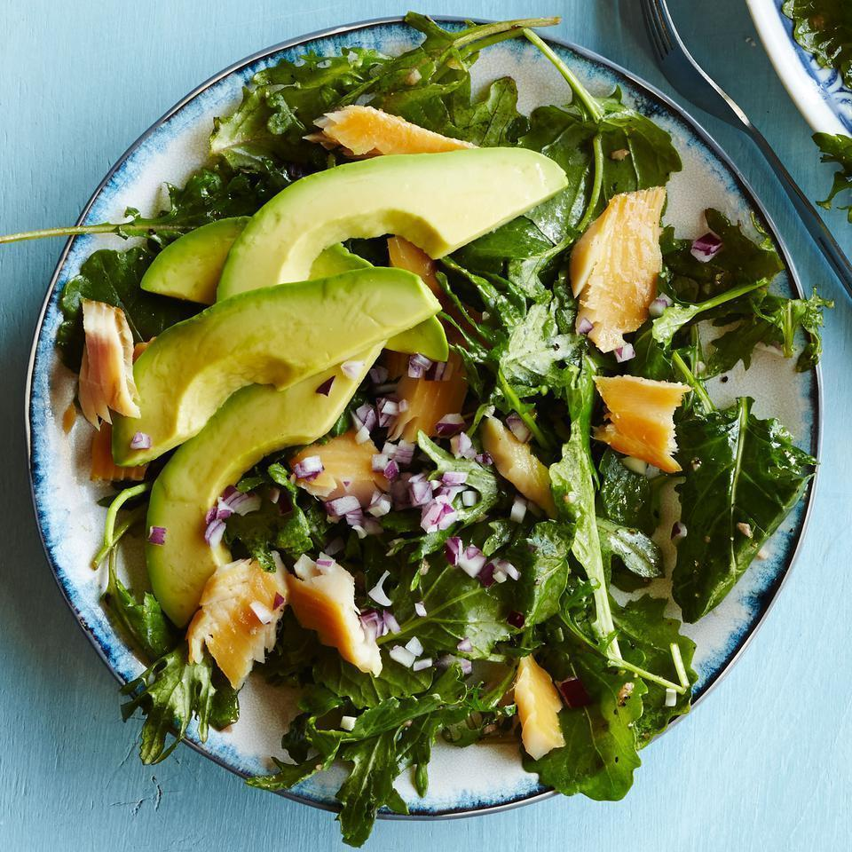 """<p>Kale for breakfast? Oh yeah! Start your day off right with a breakfast salad recipe full of good-for-you greens and you'll knock out half of your daily veggie quota with the first meal of the day. <a href=""""http://www.eatingwell.com/recipe/251411/baby-kale-breakfast-salad-with-smoked-trout-avocado/"""" rel=""""nofollow noopener"""" target=""""_blank"""" data-ylk=""""slk:View recipe"""" class=""""link rapid-noclick-resp""""> View recipe </a></p>"""