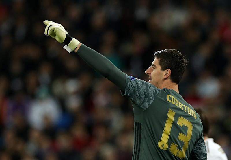 MADRID, SPAIN - NOVEMBER 06: Thibaut Courtois of Real Madrid gestures during the UEFA Champions League group A match between Real Madrid and Galatasaray at Bernabeu on November 06, 2019 in Madrid, Spain. (Photo by Angel Martinez/Getty Images)