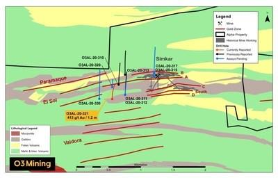 Figure 2: Simkar Zone Drilling Map (CNW Group/O3 Mining Inc.)