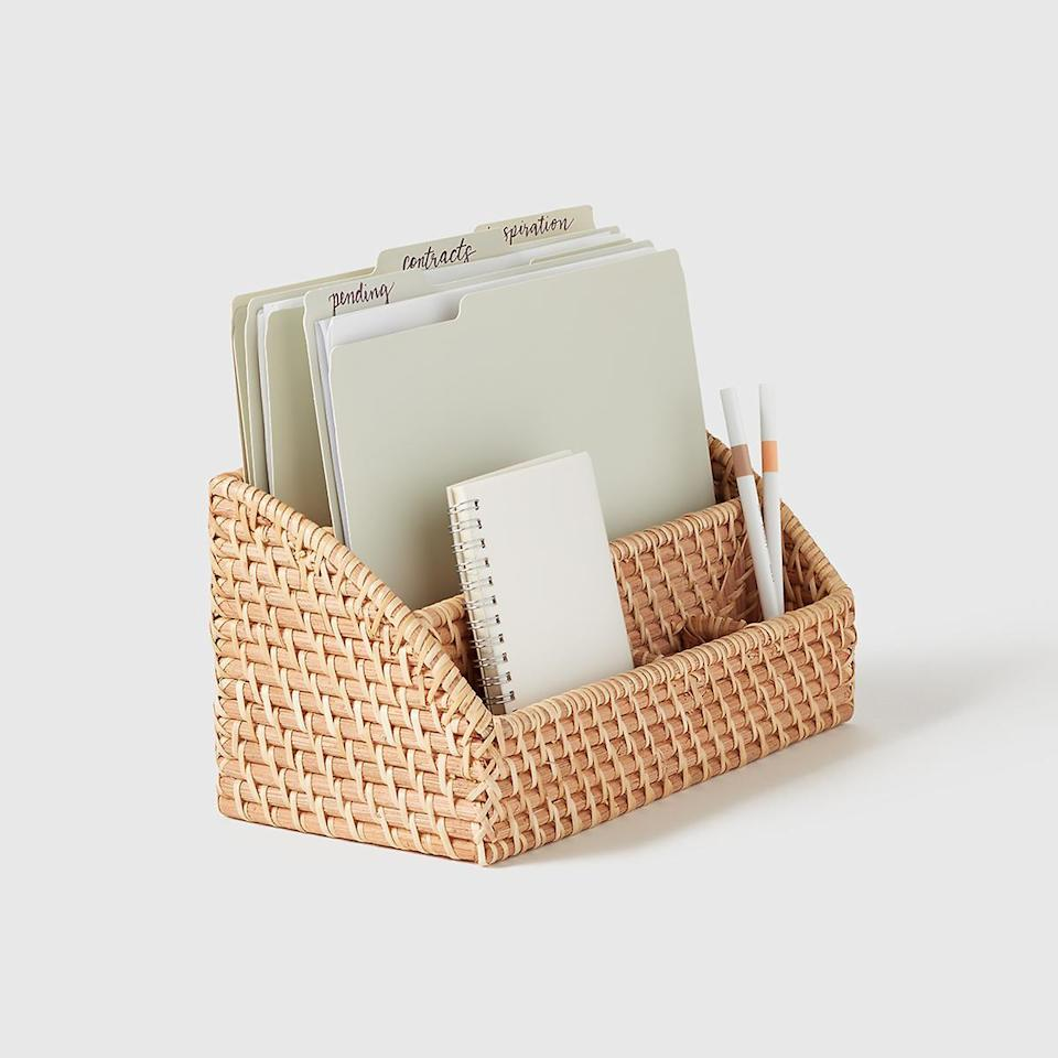 "<h2>Marie Kondo Collection Ori Rattan Desktop Organizer</h2><br>When Marie Kondo <a href=""https://www.refinery29.com/en-us/2021/01/10254787/marie-kondo-container-store-collection"" rel=""nofollow noopener"" target=""_blank"" data-ylk=""slk:dropped her collab with The Container Store"" class=""link rapid-noclick-resp"">dropped her collab with The Container Store</a>, we dropped everything and shopped away. This handwoven desktop organizer will prevent clutter and give your space a stylish flare. <br><br><em>Shop</em> <strong><em><a href=""https://www.containerstore.com/marie-kondo"" rel=""nofollow noopener"" target=""_blank"" data-ylk=""slk:Marie Kondo Collection"" class=""link rapid-noclick-resp"">Marie Kondo Collection</a></em></strong><br><br><strong>Marie Kondo Collection</strong> Ori Rattan Desktop Organizer, $, available at <a href=""https://go.skimresources.com/?id=30283X879131&url=https%3A%2F%2Fwww.containerstore.com%2Fs%2Foffice%2Fdesktop-collections%2Fmarie-kondo-ori-rattan-collection%2Fmarie-kondo-ori-rattan-desktop-organizer%2F123d%3FproductId%3D11014265"" rel=""nofollow noopener"" target=""_blank"" data-ylk=""slk:The Container Store"" class=""link rapid-noclick-resp"">The Container Store</a>"