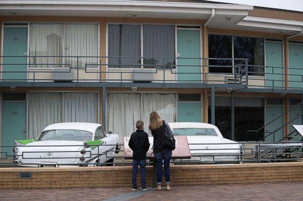 PHOTO: People visit the Lorraine Motel, where Dr. Martin Luther King, Jr. was assassinated, and is now part of the complex of the National Civil Rights Museum, April 2, 2018 in Memphis, Tenn. (Joe Raedle/Getty Images, FILE)