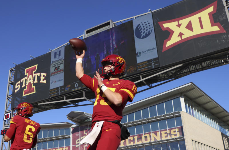 Iowa State quarterback Brock Purdy warms up before an NCAA college football game against Kansas, Saturday, Nov. 23, 2019, in Ames, Iowa. (AP Photo/Matthew Putney)