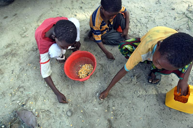 Young Somali internally displaced persons salvage maize seeds at a food-aid distribution point outside Mogadishu, Somalia on June 15, 2009 (AFP Photo/Mohamed Dahir)