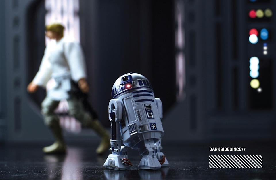 """<p>""""Five minutes into watching <em>A New Hope — </em>that's all it took and I was instantly in love with R2-D2 and I thought, 'So this is <em>Star Wars</em>!' R2-D2 is what made me a <em>Star Wars</em> fan since 1977."""" (Photo: <a href=""""https://www.instagram.com/darksidesince77/"""" rel=""""nofollow noopener"""" target=""""_blank"""" data-ylk=""""slk:@darksidesince77"""" class=""""link rapid-noclick-resp"""">@darksidesince77</a>/Hasbro) </p>"""