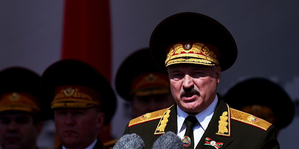 Belarusian President Alexander Lukashenko gives a speech during a military parade that marked the 75th anniversary of the allied victory over Nazi Germany, in Minsk, Belarus, Saturday, May 9, 2020. (Sergei Gapon/Pool via AP)