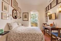"""This cozy Airbnb looks out onto a leafy and quiet private courtyard, with a small balcony off its only bedroom. Quarters are small here—there's no living area outside of the chairs on the balcony and the pictured table in the bedroom—but you won't be spending too much time inside the apartment, thanks to the Airbnb's location smack in the middle of the <a href=""""https://www.cntraveler.com/destinations/rome?mbid=synd_yahoo_rss"""" rel=""""nofollow noopener"""" target=""""_blank"""" data-ylk=""""slk:Trastevere"""" class=""""link rapid-noclick-resp"""">Trastevere</a>. And, when you're tired from a long day exploring, know that there's only one flight of stairs between you and your bed. Amenities include a washing machine, Wi-Fi, and air conditioning. $118, Airbnb (Starting Price). <a href=""""https://www.airbnb.com/rooms/17113263"""" rel=""""nofollow noopener"""" target=""""_blank"""" data-ylk=""""slk:Get it now!"""" class=""""link rapid-noclick-resp"""">Get it now!</a>"""