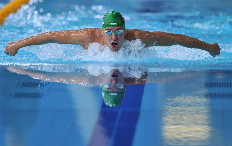 South Africa's Chad le Clos swims to gold in the Men's 200m Butterfly Final at the Tollcross International Swimming Centre during the 2014 Commonwealth Games in Glasgow on July 26, 2014