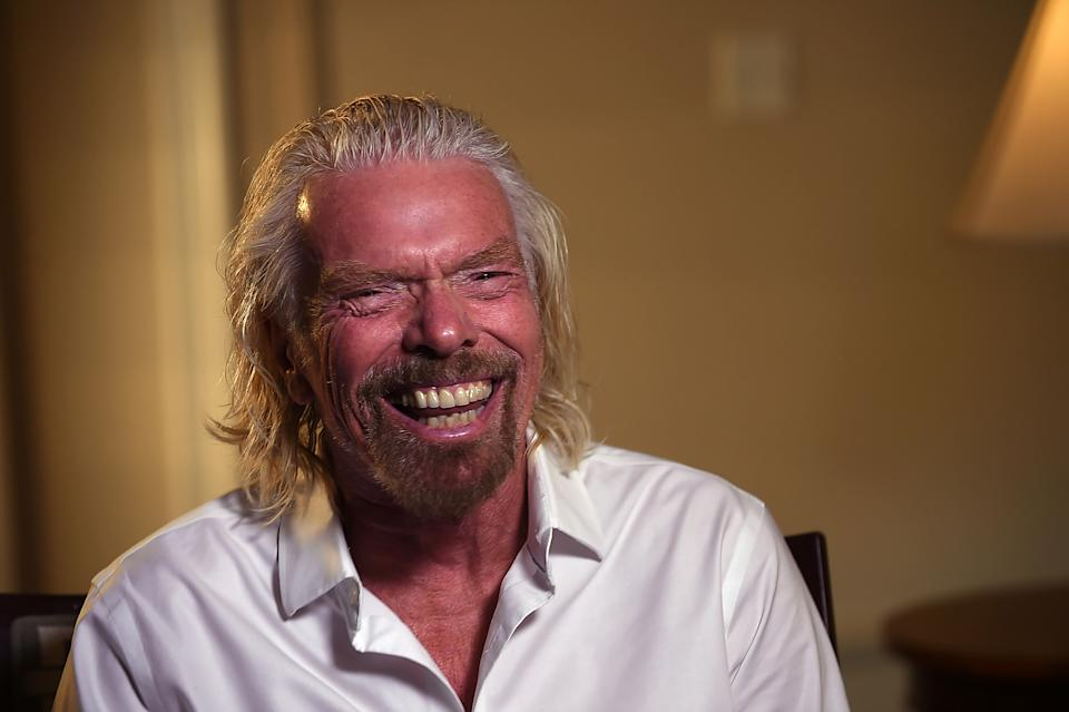 Virgin Galactic founder Richard Branson speaks during an interview while attending the Space Symposium in Colorado Springs, Colorado, U.S., April 11, 2019. Picture taken April 11, 2019. REUTERS/Kelsey Brunner