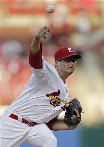St. Louis Cardinals starting pitcher Joe Kelly delivers the pitch in the first inning of a baseball game against the Los Angeles Dodgers, Monday, July 23, 2012 in St. Louis.(AP Photo/Tom Gannam)