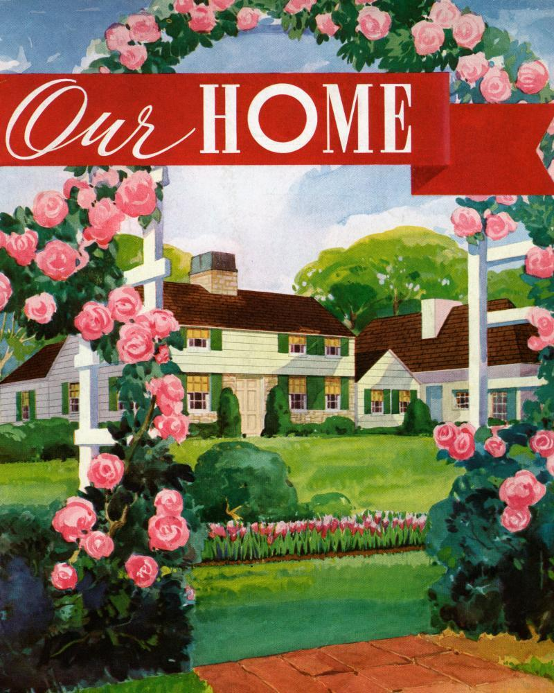 An illustration of the front of what was seen as an ideal American home in 1936.
