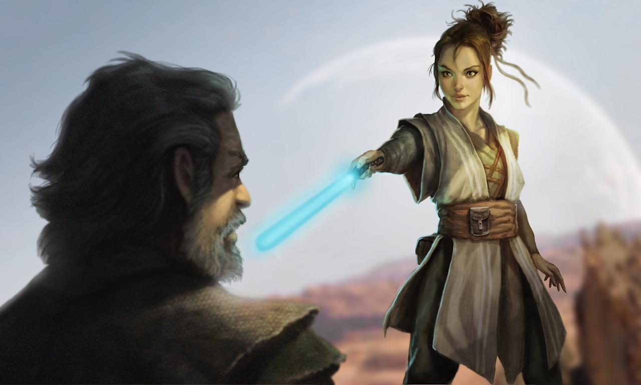 <p>Daisy Ridley's aspiring Jedi shows her lightsaber prowess to mentor Luke Skywalker (Mark Hamill) during her training on Ahch-To in Karl Lindberg's visualization. (Image courtesy of Abrams Books and Lucasfilm Ltd. Used under authorization.) </p>