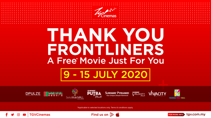 Cinema operator TGV Cinemas will be hosting a free movie for frontliners involved in the fight against Covid-19 pandemic as a token of appreciation. — Courtesy photo from TGV Cinemas
