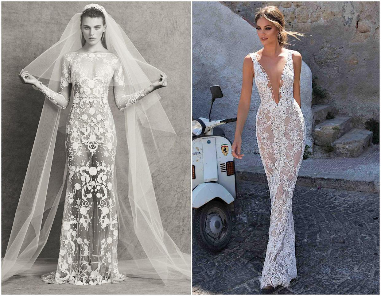 This Zuhair Murad dress (left) retails for $10,600, while the Muse by Berta design (right) sells for $8,500. Photo: Zuhair Murad and Muse by Berta