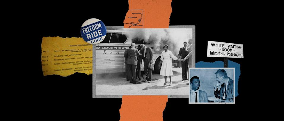 The Freedom Ride movement almost ended in Alabama on May 14, 1961, when a group of Riders nearly died on a bus set ablaze by Klansmen.