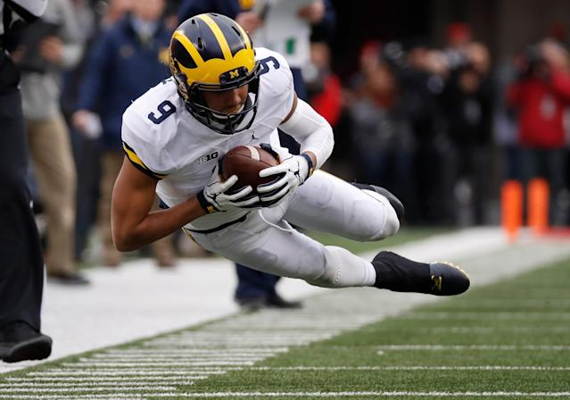 "<a class=""link rapid-noclick-resp"" href=""/ncaaf/players/256596/"" data-ylk=""slk:Grant Perry"">Grant Perry</a> was indefinitely suspended by Michigan in December. (Getty)"