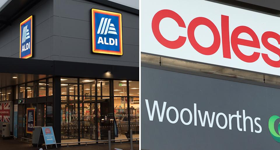 Exterior photos of Aldi, Coles and Woolworths.