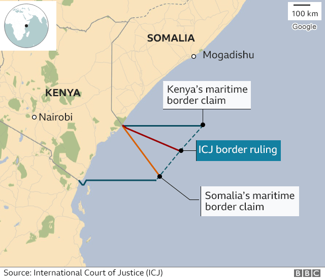 Map showing the border ruling