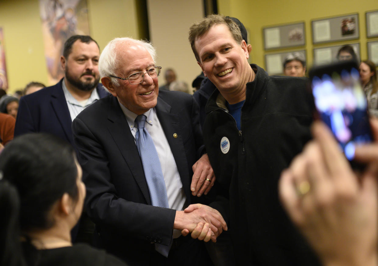 Democratic presidential candidate Sen. Bernie Sanders (I-VT) poses for a photo after speaking at town hall at the National Motorcycle Museum on January 3, 2020 in Anamosa, Iowa.  (Photo: Stephen Maturen/Getty Images)