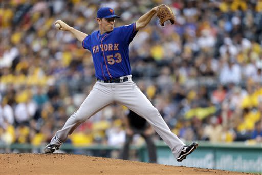 New York Mets starting pitcher Jeremy Hefner delivers in the first inning of a baseball game against the Pittsburgh Pirates in Pittsburgh on Friday, July 12, 2013. (AP Photo/Gene J. Puskar)