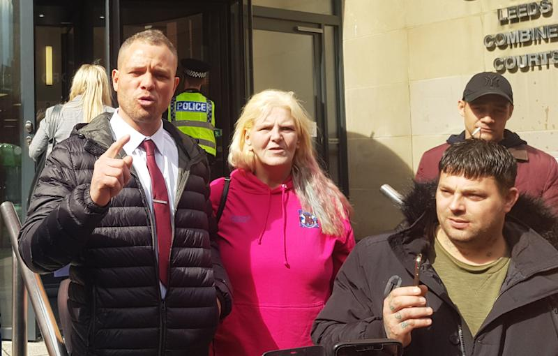 Defendant Phillip Hoban (left) addressing his supporters outside Leeds Crown Court after the hearing. Hoban of Predator Exposure group denied the false imprisonment of a man in the Chapel Allerton area of Leeds, on January 13.