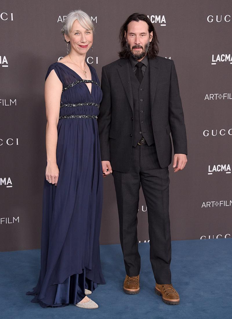 A photo of Alexandra Grant and Keanu Reeves at the 2019 LACMA 2019 Art + Film Gala Presented By Gucci at LACMA on November 02, 2019 in Los Angeles, California.