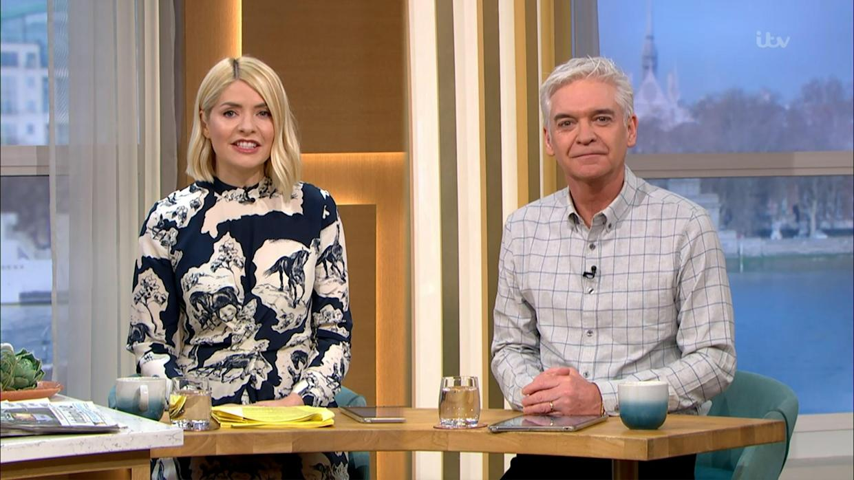 Mandatory Credit: Photo by ITV/Shutterstock (11825117b) Holly Willoughby and Phillip Schofield 'This Morning' TV Show, London, UK - 22 Mar 2021