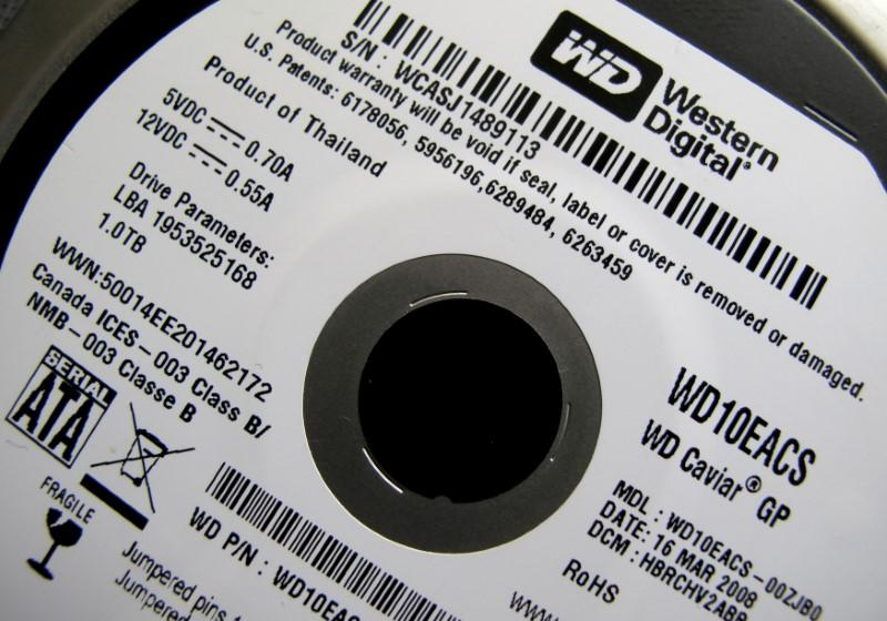 FILE PHOTO: A Western Digital Corporation hard drive is pictured here in Encinitas, California