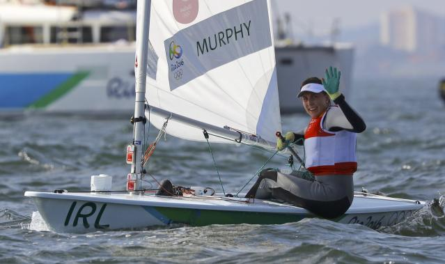 2016 Rio Olympics - Sailing - Final - Women's One Person Dinghy - Laser Radial - Medal Race - Marina de Gloria - Rio de Janeiro, Brazil - 16/08/2016. Annalise Murphy (IRL) of Ireland celebrates silver medal. REUTERS/Brian Snyder FOR EDITORIAL USE ONLY. NOT FOR SALE FOR MARKETING OR ADVERTISING CAMPAIGNS.