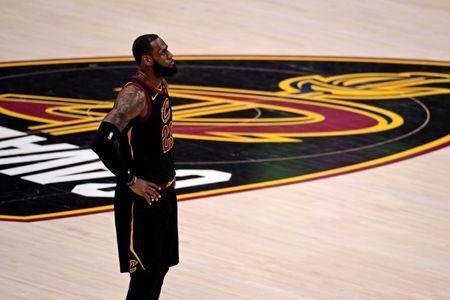 Jun 8, 2018; Cleveland, OH, USA; Cleveland Cavaliers forward LeBron James (23) reacts during the third quarter against the Golden State Warriors in game four of the 2018 NBA Finals at Quicken Loans Arena. Mandatory Credit: Kyle Terada-USA TODAY Sports