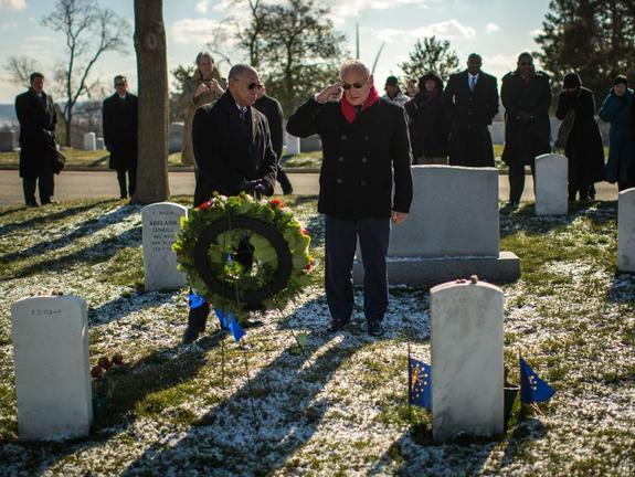Astronaut Buzz Aldrin and NASA Administrator Charles Bolden lay a wreath at Arlington National Cemetery in honor of NASA's Day of Remembrance (Feb. 1).
