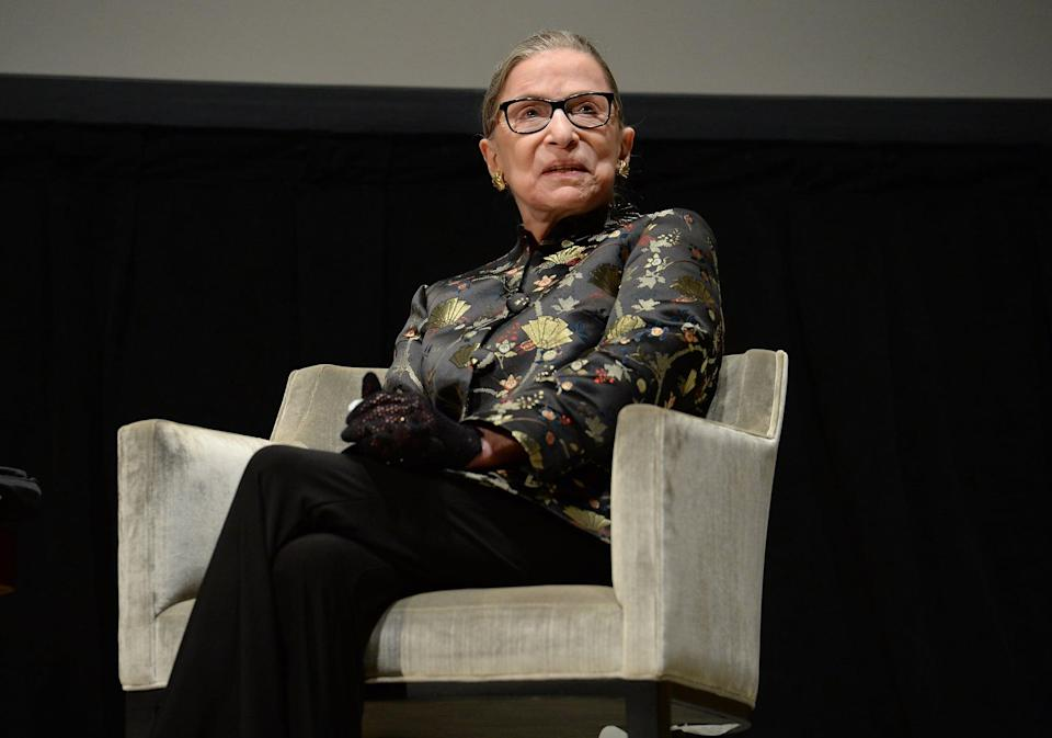 "<p>The Supreme Court justice and <a href=""https://www.popsugar.com/celebrity/celebrity-reactions-to-ruth-bader-ginsburg-death-47806096"" class=""link rapid-noclick-resp"" rel=""nofollow noopener"" target=""_blank"" data-ylk=""slk:women's rights pioneer died at age 87"">women's rights pioneer died at age 87</a> on Sept. 18 after battling metastatic pancreatic cancer. </p>"